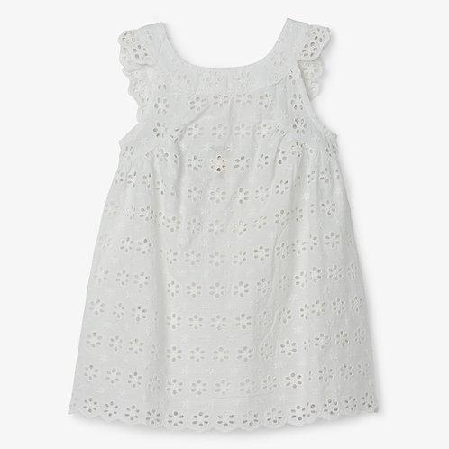 White Blossoms Eyelet Dress
