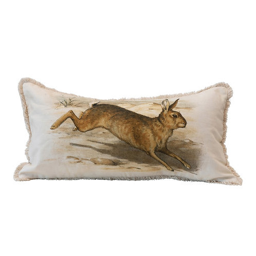 Cotton Lumbar Pillow with Vintage Reproduction Rabbit & Fringe