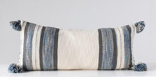 Blue Grey Cream Lumbar Tassel Pillow