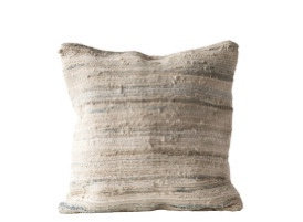 Light Multicolor Square Recycled Cotton & Canvas Chindi Pillow