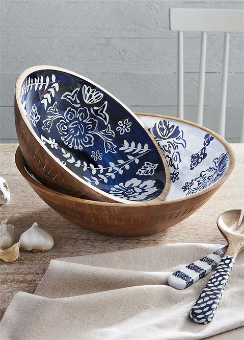 Blue Enamel  Carved Wood Serving Bowls (sold separately)