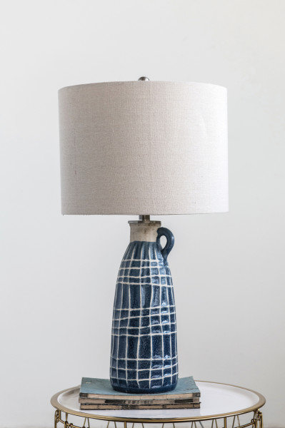 Blue Embossed Stoneware Table Lamp