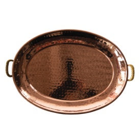 Hammered Copper Finish Tray with Brass Handles