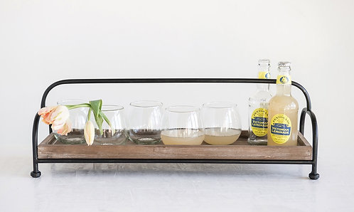 Long Wood Tray with Metal Stand
