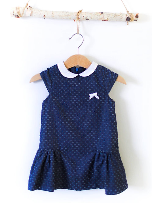 Denim Dots Dress with Collar