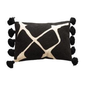 Black & White Embroidered Lumbar Pillow