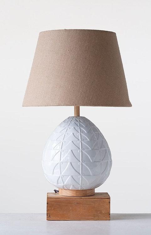 Modern Embossed White Lamp w/ Burlap Shade