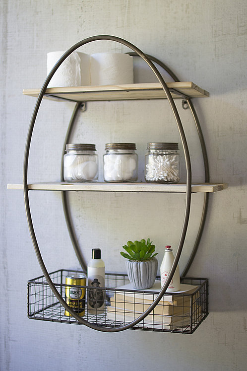 Oval Metal and Recycled Wood Shelf Unit
