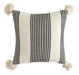 Cream Cotton & Chenille Pillow with Black Stripes & Tassels