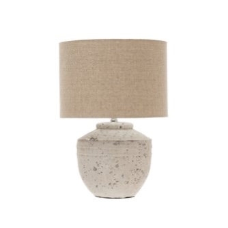 Cement Table Lamp w/ Linen Shade