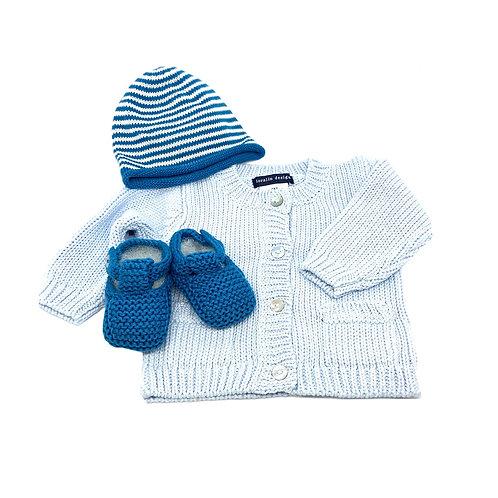 Blue Cardigan Hat & Booties Set