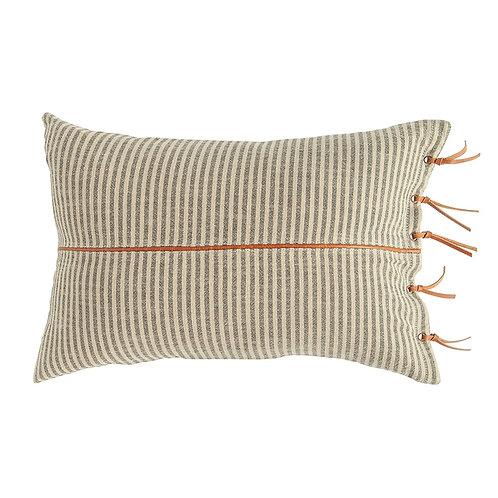 Leather Tie Lumbar Pillow