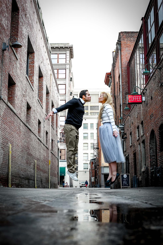 Downtown Pasadena Alley Way Jump Shot Engagement Session by Tom Keene at LAdigitalPhoto