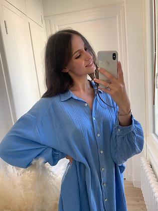 chemise belinda bleue gaze de coton