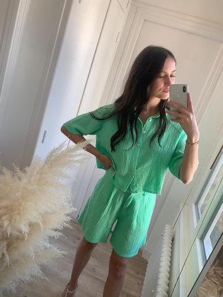 short gaze de coton vert menthe