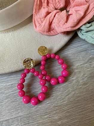 Boucles perles Fuschia