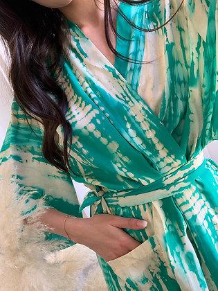 kimono Kristina vert tie and dye