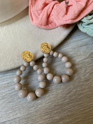 Boucles  perles beiges