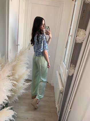 Pantalon caly vert pastel