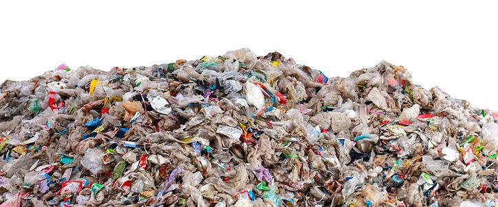 large garbage pile isolated on white bac