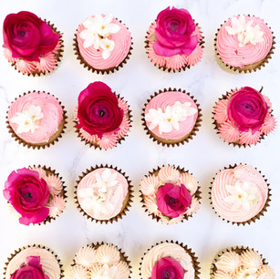 Pink Ombre Floral Cupcakes