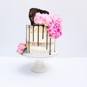 Semi Naked Chocolate Drip Cake with Chocolate Sails
