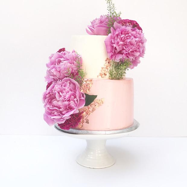 Two Tier Peonies Cake