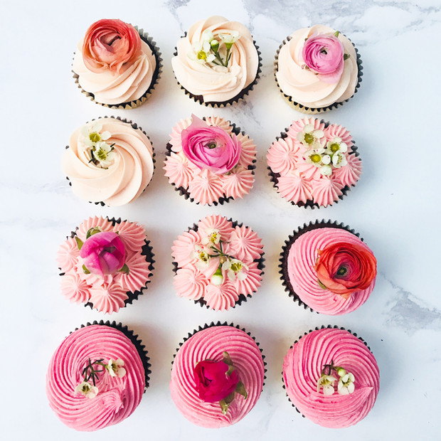 Ombre Floral Cupcakes