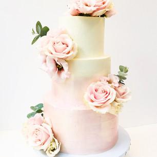 Metallic Pink Ombre Wedding Cake.