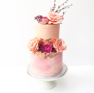 Two Tier Watercolour Pink and Peach Cake