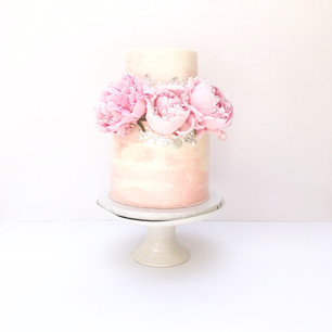 Two Tier Watercolour Pastel Pink Cake