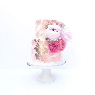 Watercolour Two Tier Peonies Cake