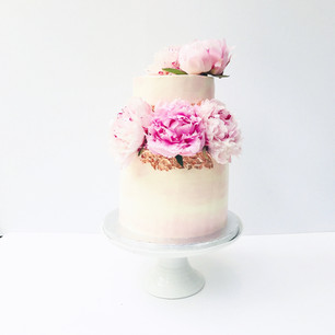 Two Tier Watercolour Pink Cake