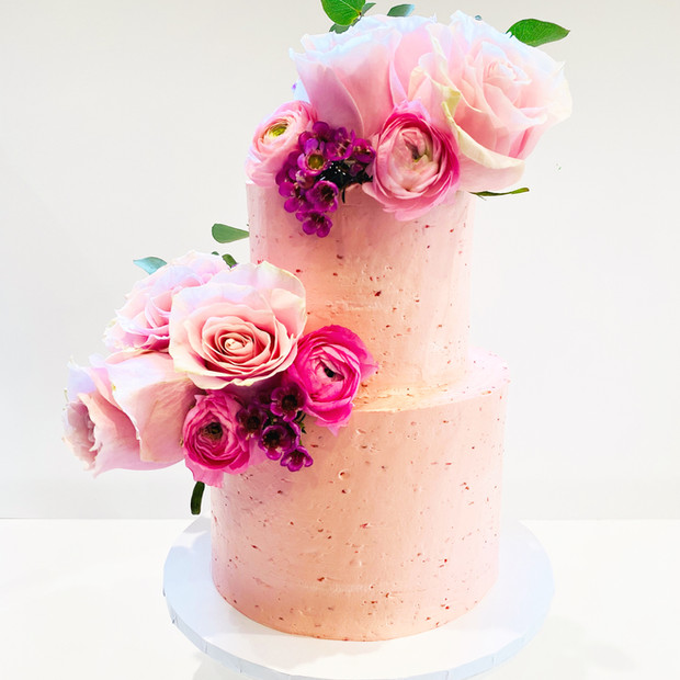 Rasberry and Floral Two Tier