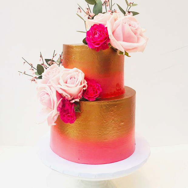 Bright Pink and Rose Gold Cake