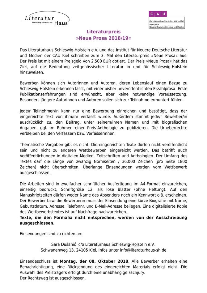 """Literaturpreis """"Neue Prosa 2018/19"""""""