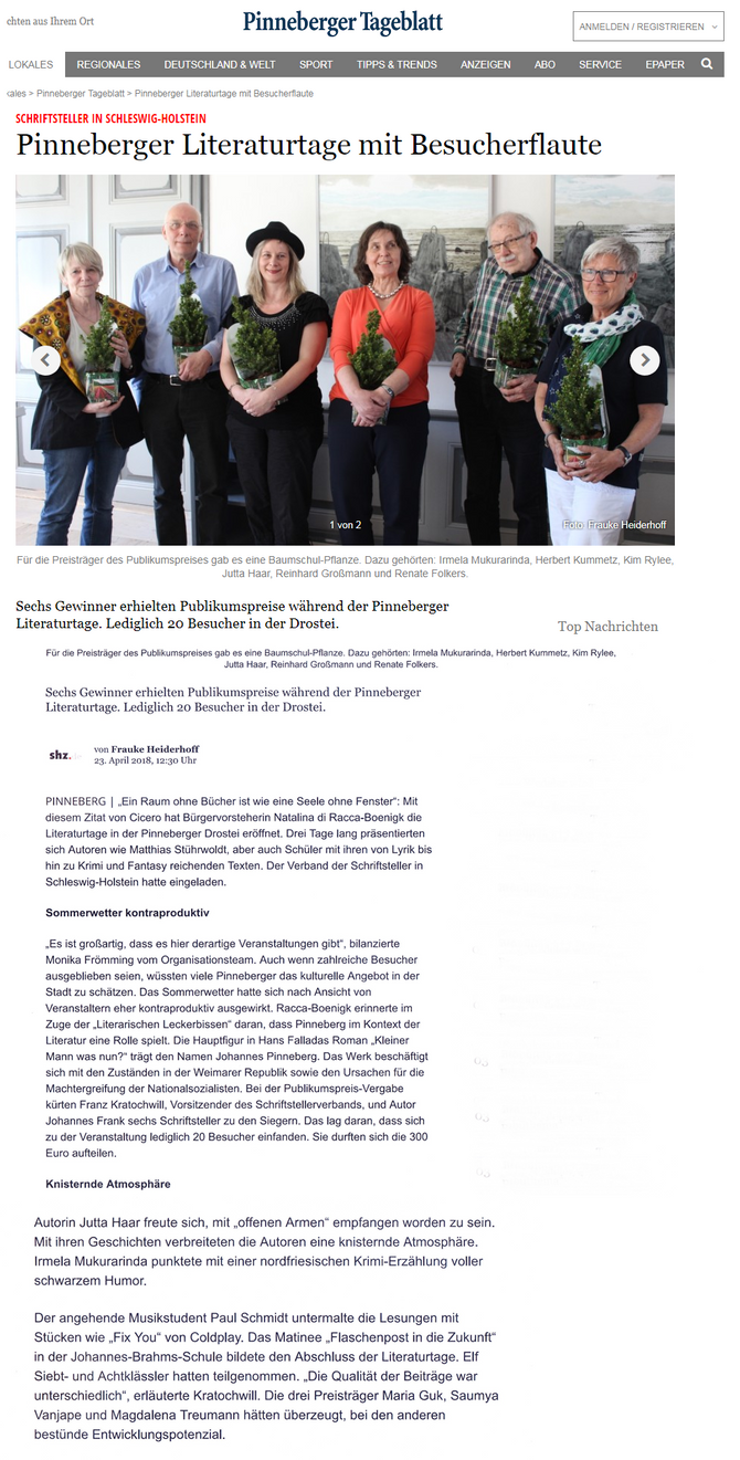 Pinneberger Tageblatt vom 23.04.18 zu den Literarturtagen in Pinneberg