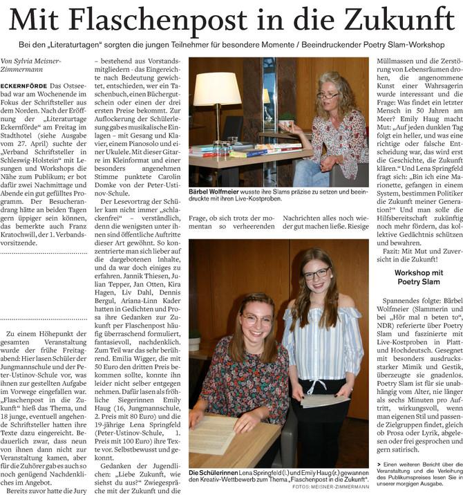 Pressebericht Literaturtage 2019 in Eckernförde