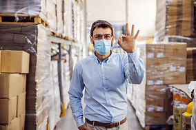 Young businessman with sterile protectiv