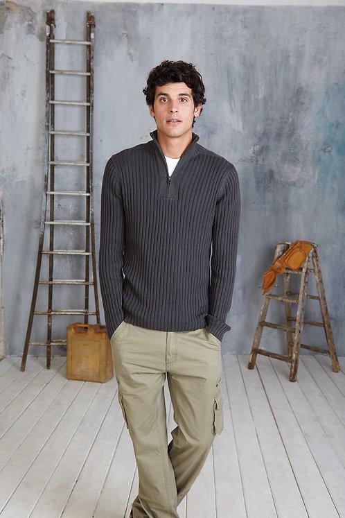 Pullover heren met ritskraag KARIBAN