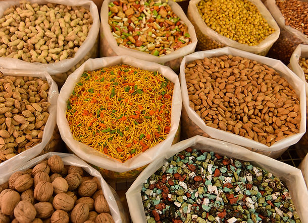 Dried fruit, rice and nuts