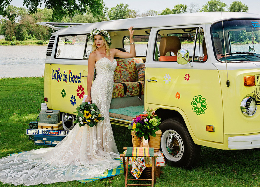bride with VW bus