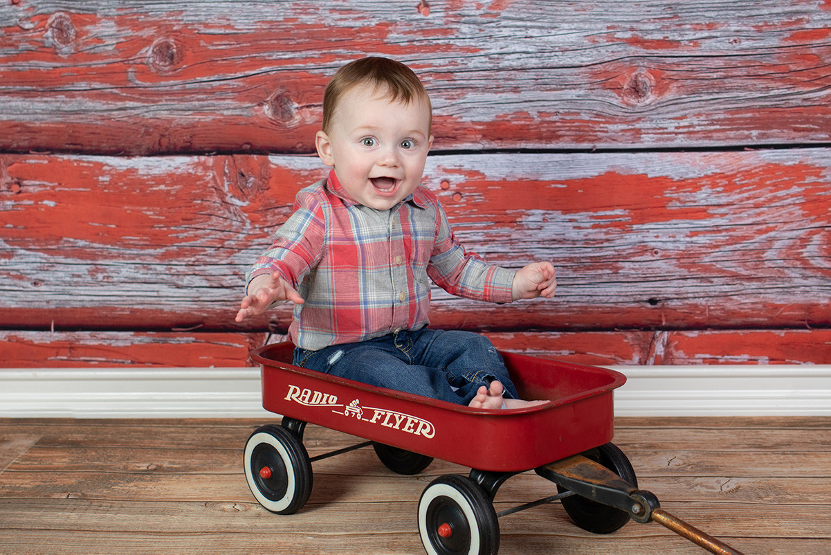 One year old in red ryder photo