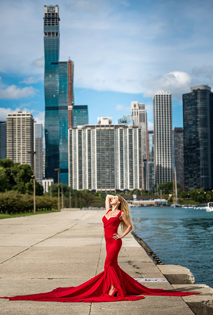 red dress model in Chicago