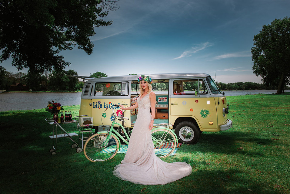 VW bus with a beautiful bride