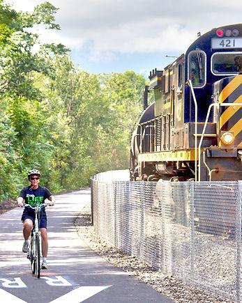 McClintock Trail - Bicyclist and Train.j