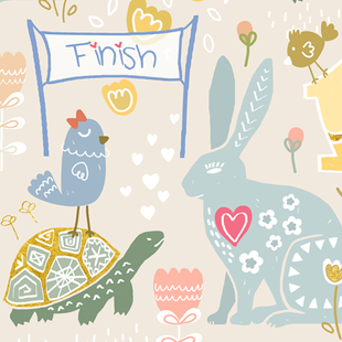 Tortoise and Hare Folkart