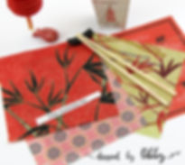 Bamboo and lotus flower patters in the Japanese Garden Collection.