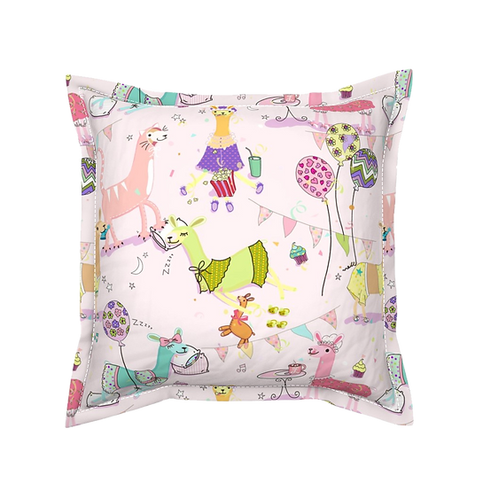 Designed by Debby's pink llama pillow