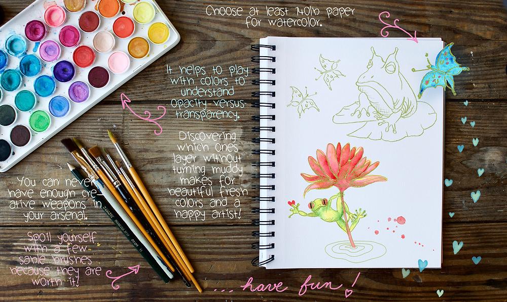 Ribbiting watercolor information!